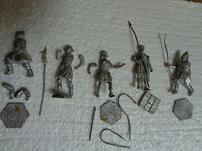 New Hope & IR, lot of 5 medieval warriors unpainted lead 54mm toy soldier, ch