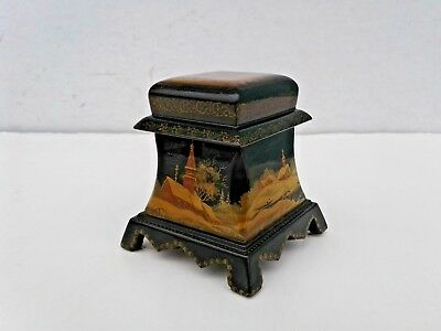 Vintage Signed FEDOSKINO Russian Lacquer Thinket Box Winter Scene Church & Trees