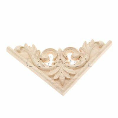 Wood Carved Decal Corner Onlay Applique Furniture Cabinet Decoration Unpainted