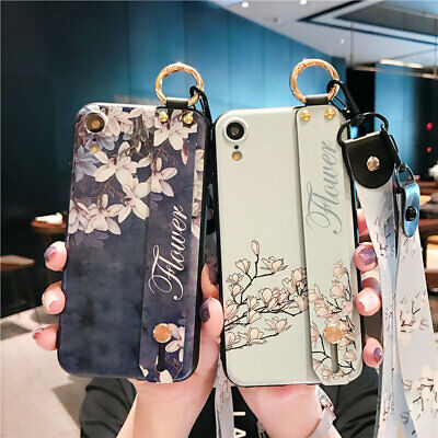 Flower Pattern Wrist Strap Rope TPU Rubber Case For iPhone XS MAX XR XS 7 8 Plus