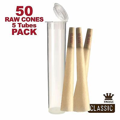 RAW Cones 50 Pack Classic King Size Pre Rolls with Tips + 5 Clear Doob Tubes