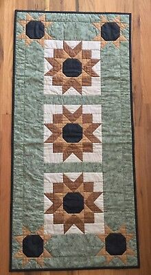 "~Thimbleberries~Hand Quilted~Sunflowers~Table Runner~ 49"" X 23"" ~"