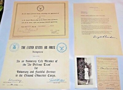 1958 DWIGHT D. EISENHOWER signed letter Ground Observer Corps Certificate Group