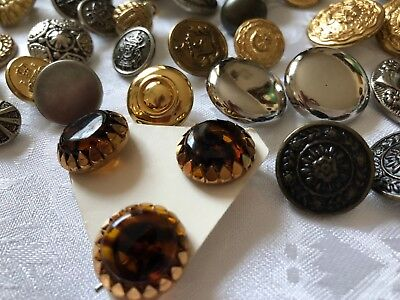 200 VINTAGE TO NEW LOT METAL BUTTONS Crafts Collection Sewing Western Amber