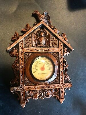 Rare Antique 1930s LUX Syrocco carved Cuckoo Clock style Thermometer nice.