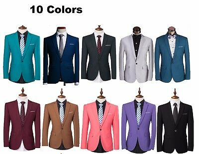 Quality One Button Mens Slim Fit Casual Formal Blazer Jacket Suit Wedding Groom