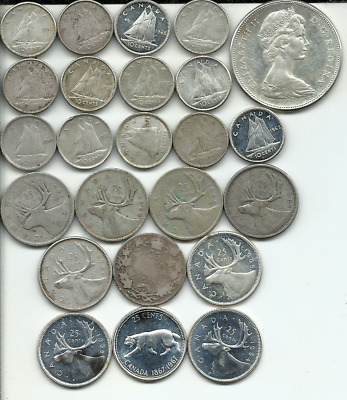 $4.80 Face Value of Canada Silver Coins Circ to Unc Weighs 111.1 Grams