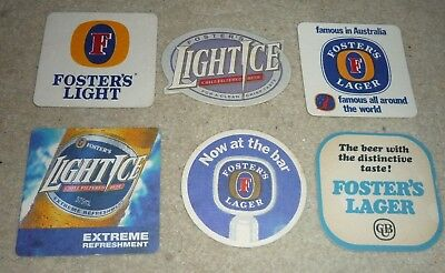 Collectable beer coasters: Set of 6 assorted Foster's beer coasters