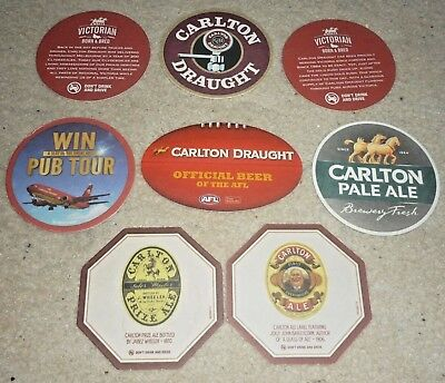 Collectable beer coasters: Set of 8 assorted CUB beer coasters
