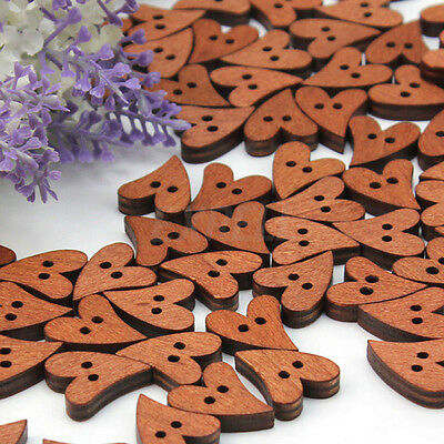 Sewing Buttons Scrapbooking Heart Shaped DIY Brown Wooden 50pcs Hand Crafts