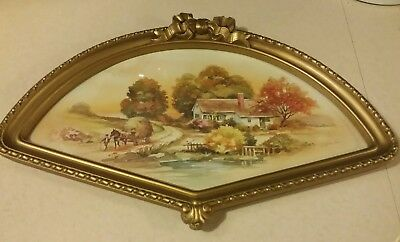 Vintage HOMCO Fan Wall Frame Country Autumn Scene Print Home Interiors