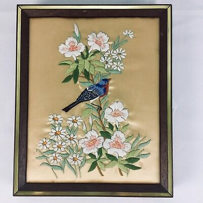 Vintage Finished Completed Crewel Embroidery Bluebird in Bush Wood Frame 11 x 9