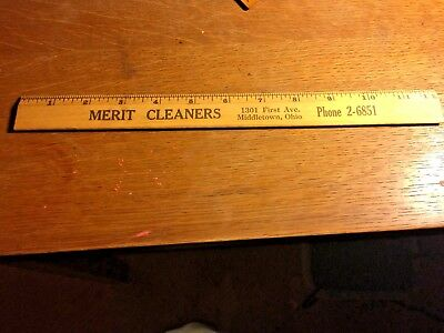 MERIT CLEANERS  FIRST AVE MIDDLETOWN OHIO Vintage Advertising  Wooden Ruler