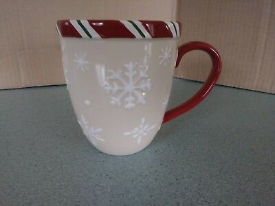 Longaberger Pottery Jumbo Mug Snowflake holiday pattern NEW w/box
