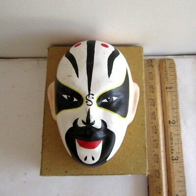 "Vintage China Beijing Opera Mask, Hand Makeup In Clay New With Old Box 3""x 2"""