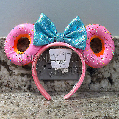 Disney Parks Foodie Minnie Mouse Glitter Bow Sprinkle Donut Ears Headband