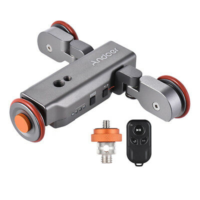 Andoer Motorized Pulley Car Dolly Rolling Rail Slider for Cell Phone Camera L6K0