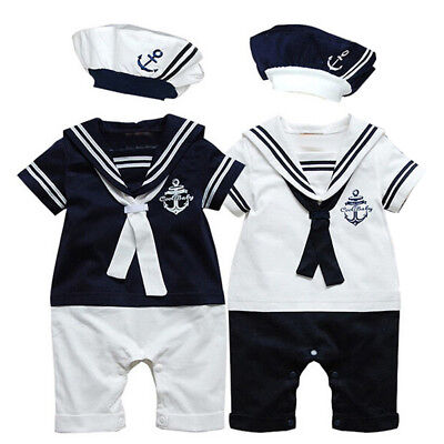 USA Toddler Baby Boys Sailor Costume Toddler Bodysuit Outfits Romper Clothes+Hat