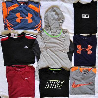 Boys Lot 8-UNDER ARMOUR, NIKE, Adidas SS Sport Shirts, SS Hoodie Youth Large