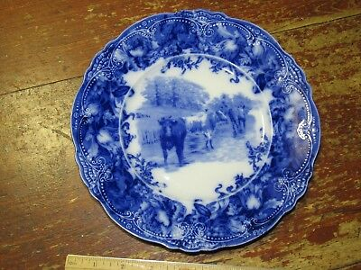 "Rare Antique English Cobalt Flow Blue Wedgwood Cows /Cattle 9"" Plate -Very Good"