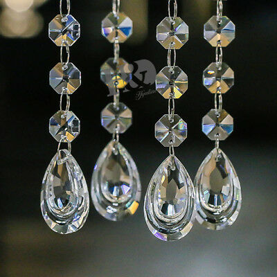 5 Clear Crystal Double Drop Chain Chandelier Prism Glass Bead Parts Decor 38mm