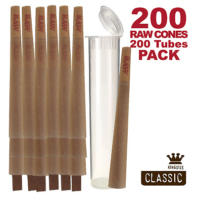 RAW Cones Pack 200 Classic King Size Pre Rolls with Tips Plus 200 Clear Tubes