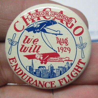 "1929 Chicago Endurance Flight Air Race Junior Sponsor 1 5/8"" Pinback Button Nice"
