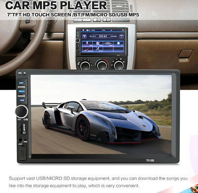 "7""Inch Car Stereo Mp5 Player Touch Screen Bluetooth Radio 2DIN BT HD Rear Camera"
