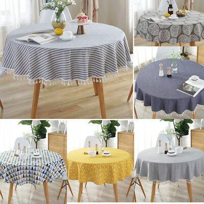 2019 Table Cover Party Tablecloth Round Cotton Covers Cloths Home Kitchen