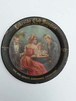 Lakeside Club Bouquet Whiskey tip tray, Wm. Druenke Co., Grand Rapids, Michigan.