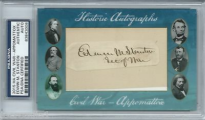 Edwin M. Stanton Historic Autographs Civil War Secretary Psa/dna Cut Auto Signed