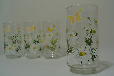 Vintage Libbey White Daisy Yellow Butterfly Floral Drinking Glasses Set of 4