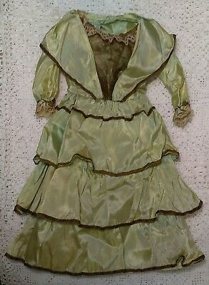 Antique Couture Doll Dress French German Metallic Thread Bodice Lace Green Satin
