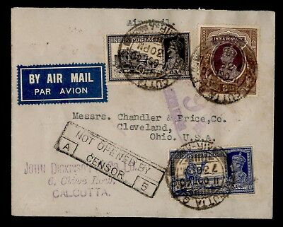 Dr Who 1940 India To Usa Censored Air Mail C72341