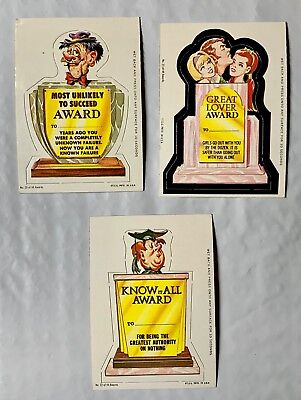 Lot Of 3 Unused 1967 Topps Kooky Awards # 20, 21  & 22-  In Near Mint Condition
