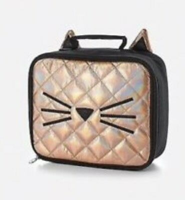 Justice Girls Quilted Cat Lunch Box Bag NWT