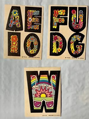 """3  TOPPS 1968 LOVE MOD INITIAL  STICKERS  W+ 2 SETS 4 MINI's """" IN MINT CONDITION"""