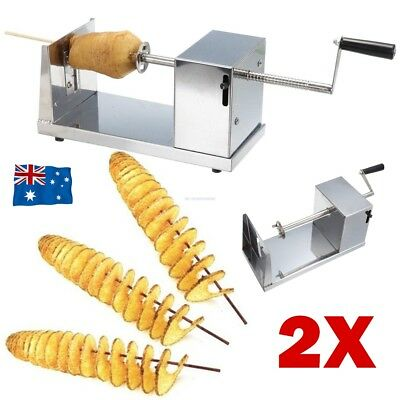 2x Stainless Steel Potato Chip Twister Tornado Slicer Cutter Vegetable Spiral