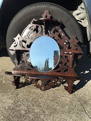Ornate Hanging Victorian Shelf with Mirror