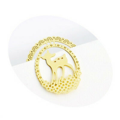 Hot 3Pcs Cute Animal Gold Plated Metal Hollow Deer Bookmark Book Paper Reading