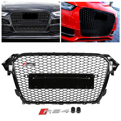 Front Sport Hex Mesh Honeycomb Hood Grill Gloss Black for Audi A4/S4 B8.5