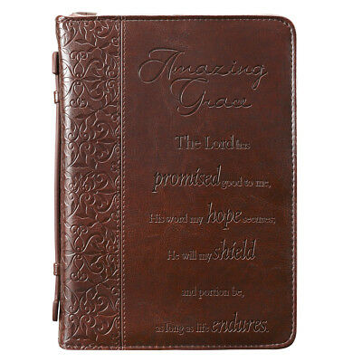Amazing Grace in Brown Bible Cover, Size Medium