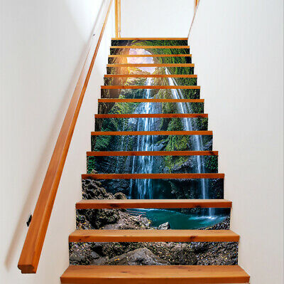 3D Sunshine in deep Forest Waterfall Staircase Stickers Mural Wallpaper Decor
