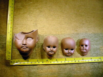 4 x damaged brown bisque swivel doll head age 1900 excavated Germany 12326