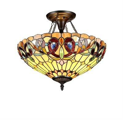 Stained Glass Chloe Lighting Victorian 2 Light Semi-Flush Fixture 16 Inch Shade
