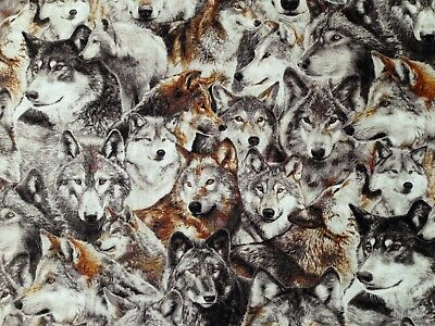 Wolves  Wolf Pack  Quilting Cotton Fabric  Wilderness  Howl  Hunter  By The Yard