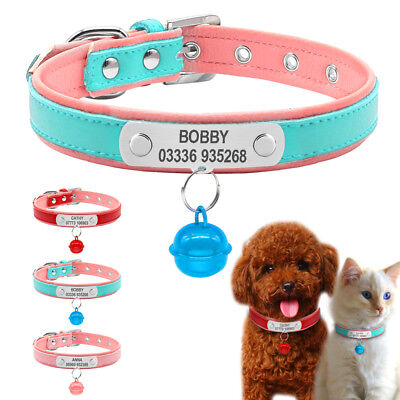 Pet Cat Dog Collar Personalised Engraved Free ID Nameplate Custom for Puppy XS-M