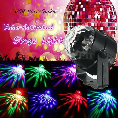 Stage Lighting Voice-Activated USB LED Rotating Crystal Magic Ball Disco Party