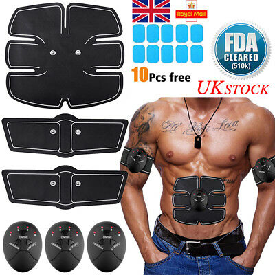EMS Trainer Abdominal Toning Muscle Toner Gym Abs Smart Fitness Belt Battery