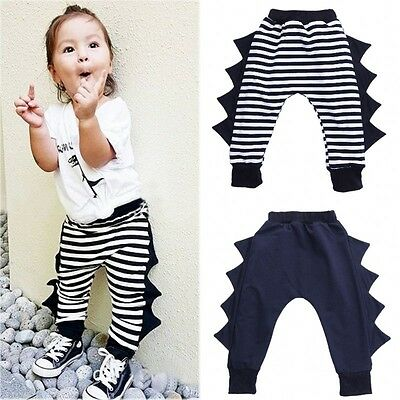 Toddler Kids Baby Boy Girl Bottoms Panty Striped Baggy Harem Pants Trousers 0-4Y
